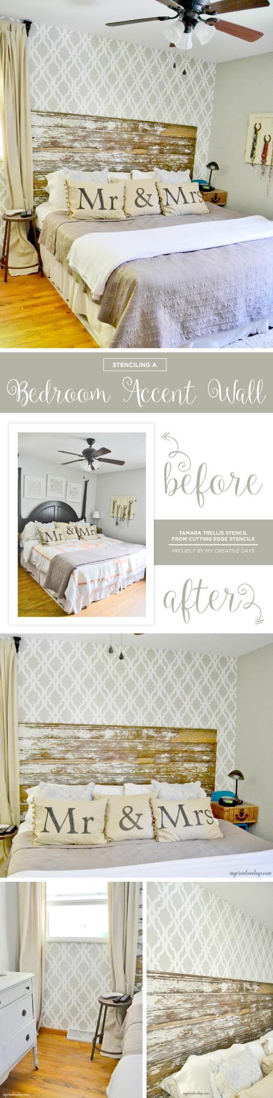 Cutting Edge Stencils shares a DIY stenciled accent wall in a bedroom using the Tamara Trellis Allover pattern. http://www.cuttingedgestencils.com/tamara-trellis-allover-wall-stencils.html