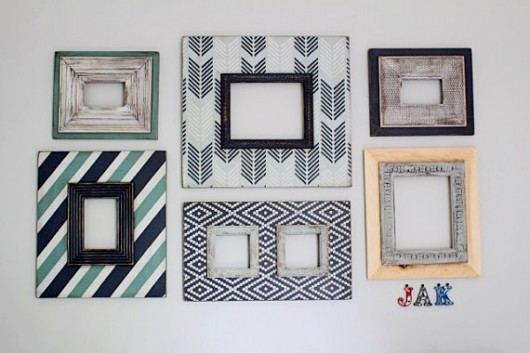 DIY stenciled wall frames using the Drifting Arrows Allover Stencil. http://www.cuttingedgestencils.com/drifting-arrows-stencil-pattern-diy-decor.html