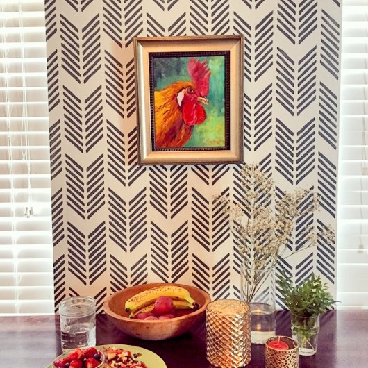 A DIY stenciled accent wall using the Drifting Arrows Allover Stencil. http://www.cuttingedgestencils.com/drifting-arrows-stencil-pattern-diy-decor.html