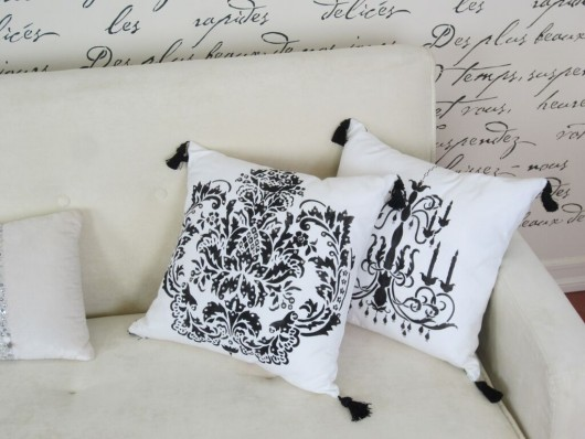 DIY painted accent pillows for a French Glam inspired space using the Brocade Paint-A-Pillow kit. http://paintapillow.com/index.php/brocade-no-1-paint-a-pillow-kit.html