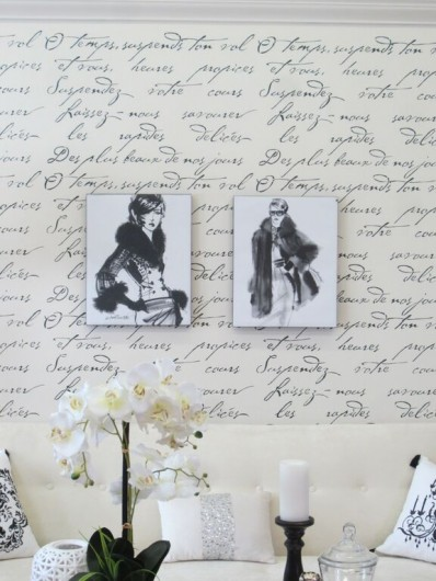 A DIY stenciled accent wall in a French Glam living room using the French Poem Allover Stencil. http://www.cuttingedgestencils.com/french-poem-typography-letter-stencil.html