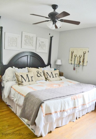 A bedroom before its stenciled makeover. http://www.cuttingedgestencils.com/tamara-trellis-allover-wall-stencils.html