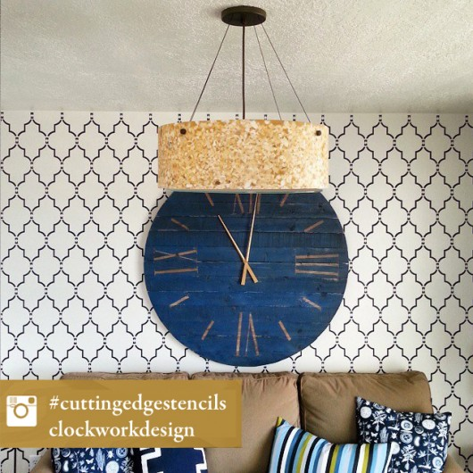 A Marrakech Trellis allover stencil on a living room accent wall. http://www.cuttingedgestencils.com/moroccan-stencil-marrakech.html
