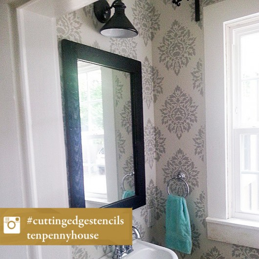 A DIY stenciled bathroom using the Nadya Damask Stencil. http://www.cuttingedgestencils.com/damask-moroccan-stencil.html