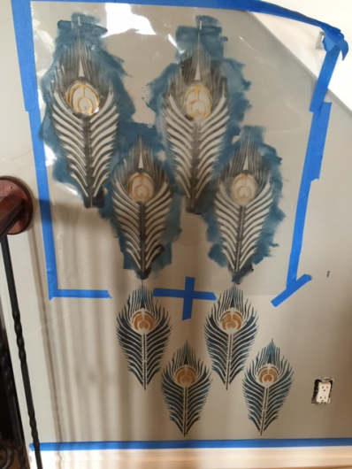 Stenciling the Peacock Feather allover stencil pattern on an accent wall. http://www.cuttingedgestencils.com/peacock-feather-wall-stencil-pattern.html