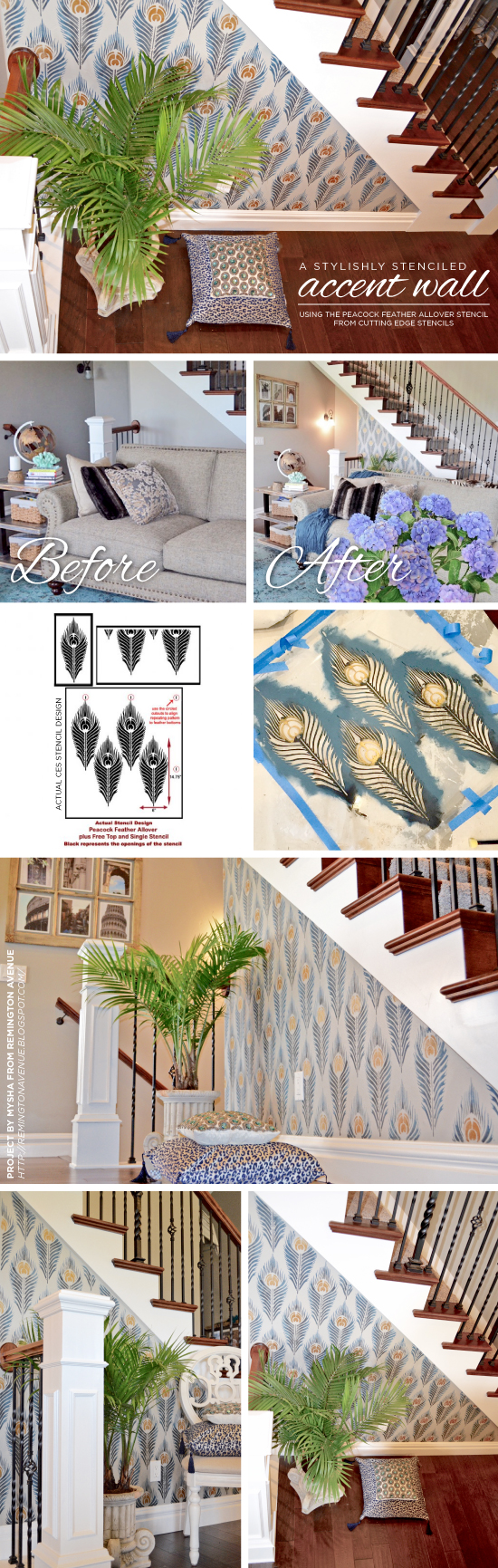 Cutting Edge Stencils shares a DIY stenciled accent wall using the Peacock Feather Allover Stencil. Stenciling the Peacock Feather allover stencil pattern on an accent wall. http://www.cuttingedgestencils.com/peacock-feather-wall-stencil-pattern.html