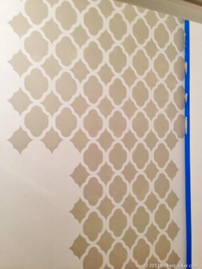 Stenciling a DIY stenciled powder room using the Rabat Allover Stencil in a light gray. http://www.cuttingedgestencils.com/moroccan-stencil-pattern-3.html
