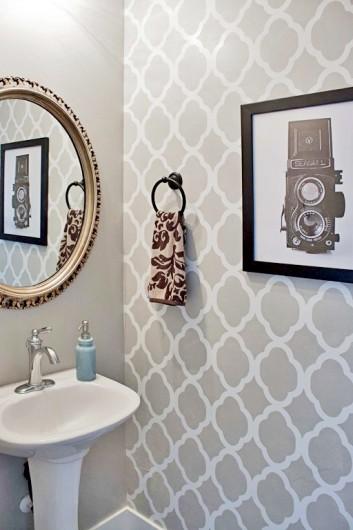 A DIY stenciled powder room using the Rabat Allover Stencil in a light gray. http://www.cuttingedgestencils.com/moroccan-stencil-pattern-3.html
