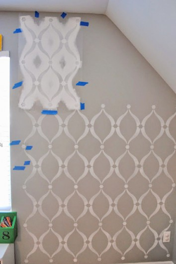 Learn how to stencil a DIY accent wall in a playroom using the Sweet Dreams Stencil. http://www.cuttingedgestencils.com/stencil-dreams.html
