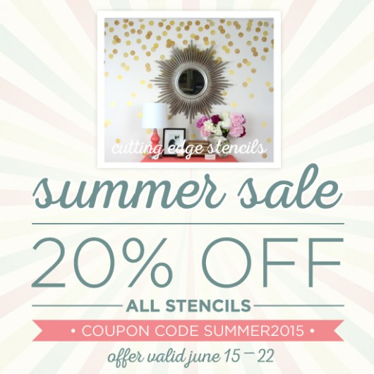 Summer Stencil Sale: Take 20% off stencils using the code SUMMER2015. Shop now: http://www.cuttingedgestencils.com/wall-stencils-stencil-designs.html
