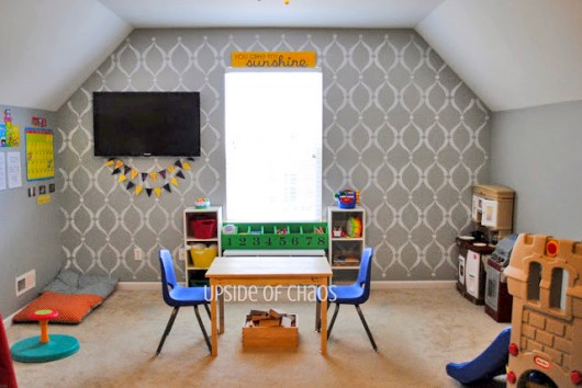 A DIY stenciled accent wall in a playroom using the Sweet Dreams Stencil. http://www.cuttingedgestencils.com/stencil-dreams.html