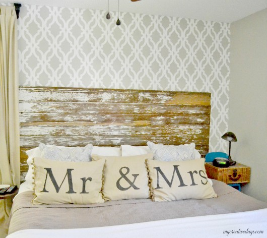 A DIY stenciled accent wall in a bedroom using the Tamara Trellis Allover pattern. http://www.cuttingedgestencils.com/tamara-trellis-allover-wall-stencils.html
