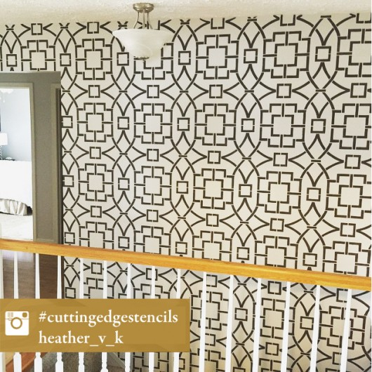 A DIY stenciled accent wall using the Tea House Trellis Allover Stencil. http://www.cuttingedgestencils.com/tea-house-trellis-allover-stencil-pattern.html