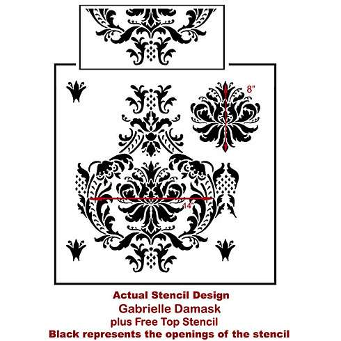 The Gabrielle Damask Stencil from Cutting Edge Stencils. http://www.cuttingedgestencils.com/damask-stencil-3.html