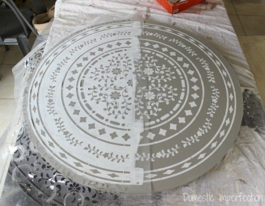 Stenciling A Round Indian Inlay Table