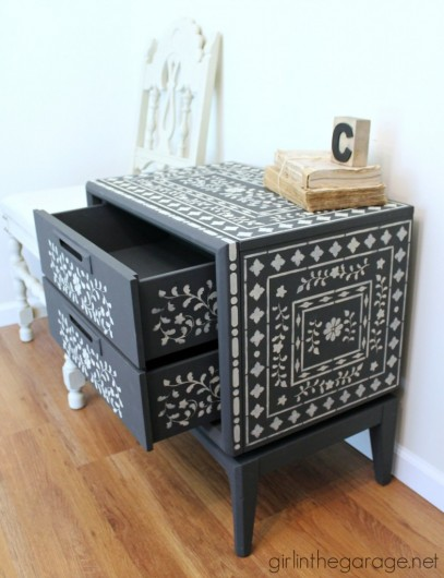 A DIY painted and stenciled side table using the Indian Inlay Stencil Kit from Cutting Edge Stencils. http://www.cuttingedgestencils.com/indian-inlay-stencil-furniture.html