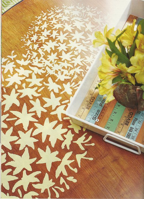 DIY Magazine features an outdoor stenciled table using the Allium Grande Flower Stencil from Cutting Edge Stencils. http://www.cuttingedgestencils.com/flower-Stencils-floral-stencil.html