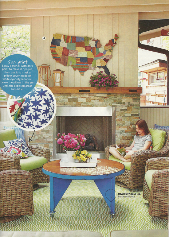 DIY Magazine features an outdoor stenciled table and accent pillow using the Allium Grande Flower Stencil from Cutting Edge Stencils. http://www.cuttingedgestencils.com/flower-Stencils-floral-stencil.html