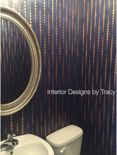 A DIY stenciled bathroom using the Beads Allover Stencil in metallic gold. http://www.cuttingedgestencils.com/beads-wall-stencil-pattern.html