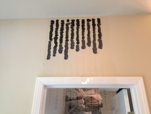 Stenciling a DIY bathroom wall with an ombre effect using the Beads Allover Stencil. http://www.cuttingedgestencils.com/beads-wall-stencil-pattern.html
