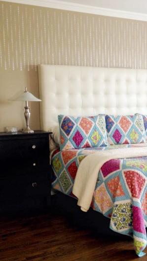 A DIY stenciled bedroom idea using the Beads Allover stencil. http://www.cuttingedgestencils.com/beads-wall-stencil-pattern.html