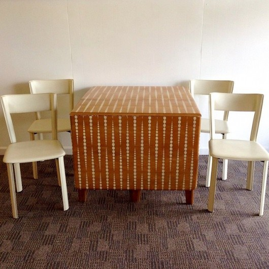 A DIY mid-century turned modern stenciled table using the Beads Allover Stencil. http://www.cuttingedgestencils.com/beads-wall-stencil-pattern.html
