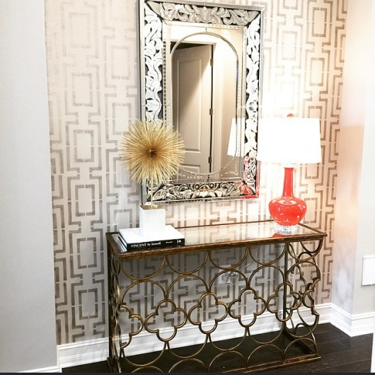 A DIY stenciled entryway using the Connection Allover Stencil. http://www.cuttingedgestencils.com/wallpaper-stencil-connection.html