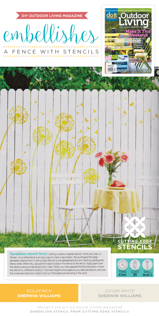 DIY Outdoor Living Magazine Features The Dandelion Stencil From Cutting  Edge Stencils To Dress Up A