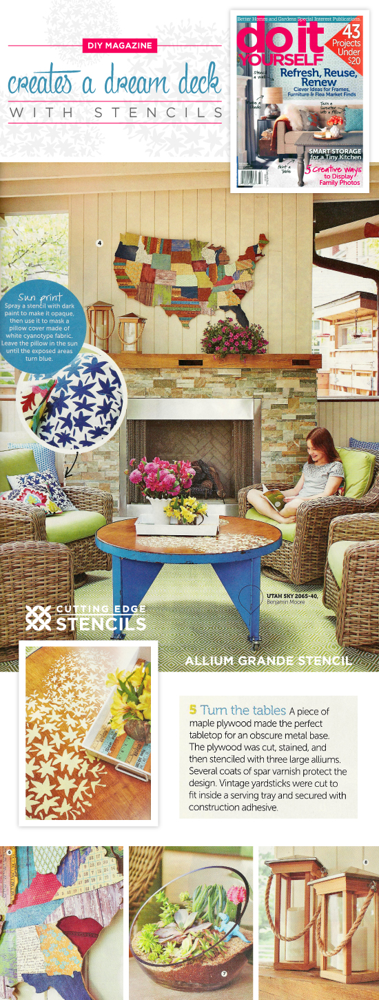 Do It Yourself Magazine features the Allium Grande Flower Stencil from Cutting Edge Stencils to fancy up a covered deck. http://www.cuttingedgestencils.com/flower-Stencils-floral-stencil.html