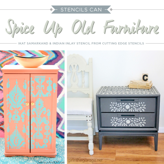 Cutting Edge Stencils shares how to spice up old furniture using paint and stencils. http://www.cuttingedgestencils.com/craft-stencils-furniture-stencils.html