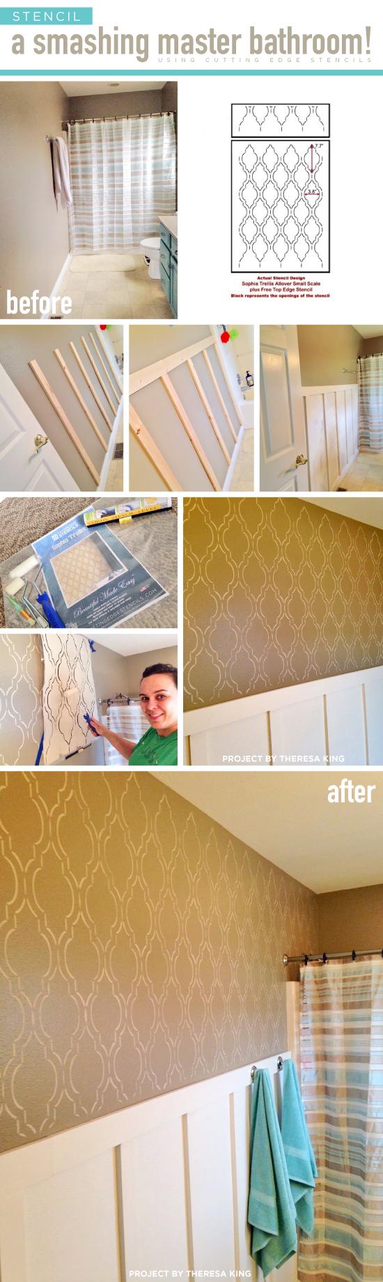 Cutting Edge Stencils shares a DIY stenciled bathroom makeover using the Sophia Trellis Allover Stencil. http://www.cuttingedgestencils.com/sophia-trellis-stencil-geometric-wall-pattern.html