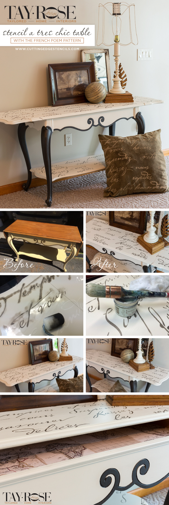 Cutting Edge Stencils shares a DIY stenciled sofa table using the French Poem Allover Stencil. http://www.cuttingedgestencils.com/french-poem-typography-letter-stencil.html
