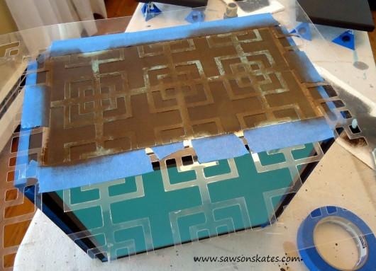 Stenciling a DIY lamp base using the Fusion Craft Stencil. http://www.cuttingedgestencils.com/craft-stencil-pattern.html