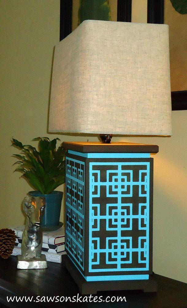 A DIY stenciled lamp using the Fusion Craft Stencil. http://www.cuttingedgestencils.com/craft-stencil-pattern.html