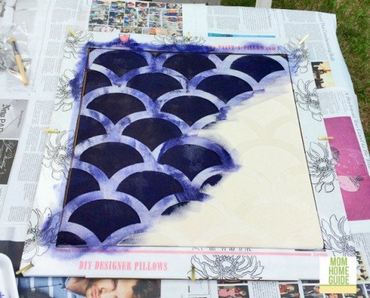 How to paint and stencil a DIY accent pillow using the Mermaid Paint-A-Pillow kit. http://paintapillow.com/index.php/mermaid-paint-a-pillow-kit.html