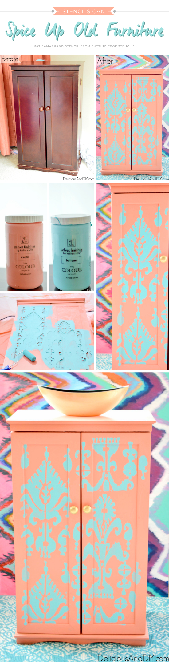 A DIY painted and stenciled cabinet using the Ikat Samarkand Allover Stencil from Cutting Edge Stencils. http://www.cuttingedgestencils.com/ikat-stencil-uzbek.html