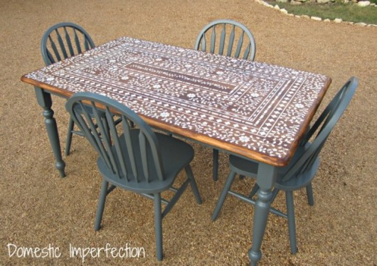 A DIY Stenciled Table Using The Indian Inlay Stencil Kit. Http://www