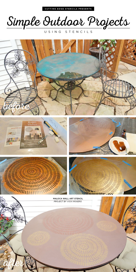 A DIY stenciled outdoor patio table using the Maloca Wall Art Stencil. http://www.cuttingedgestencils.com/maloca-wall-art-stencil.html
