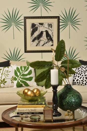 Trend spotting tropical decorating - Wall painting stencils for living room ...