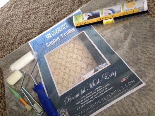 The tools needed to stencil a wall using the Sophia Trellis Allover Stencil from Cutting Edge Stencils. http://www.cuttingedgestencils.com/sophia-trellis-stencil-geometric-wall-pattern.html