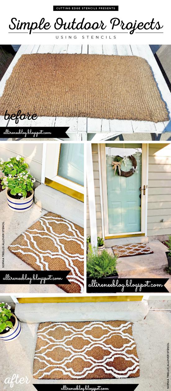 Cutting Edge Stencils shares a DIY stenciled outdoor mat using the Sophia Trellis Allover Stencil. http://www.cuttingedgestencils.com/sophia-trellis-stencil-geometric-wall-pattern.html