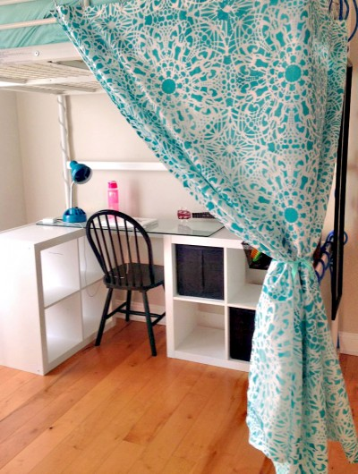 A DIY stenciled curtain for a reading nook in a bedroom using the Stephanie's Lace Allover Stencil. http://www.cuttingedgestencils.com/lace-stencil-wall-decor-stencils.html