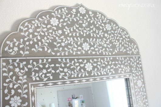 A DIY stenciled mirror using the Indian Inlay Stencil kit. http://www.cuttingedgestencils.com/indian-inlay-stencil-furniture.html