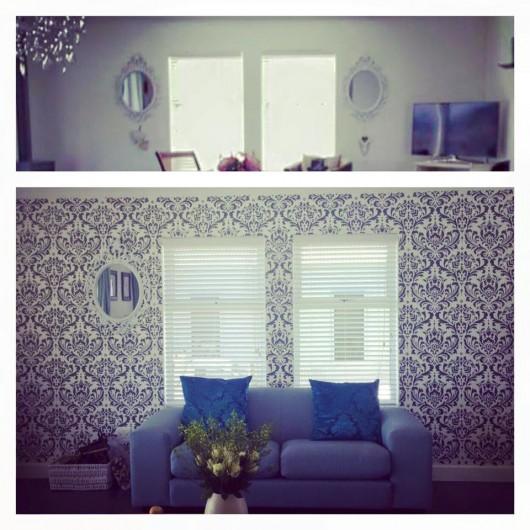 A DIY stenciled living room using the Anna Damask Stencil. http://www.cuttingedgestencils.com/damask-stencil.html