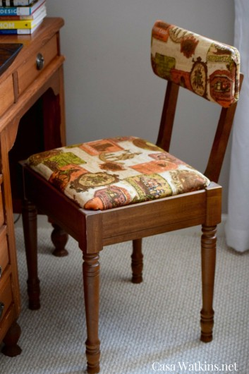 A chair before its stenciled makeover using the Indian Inlay Stencil kit. http://www.cuttingedgestencils.com/indian-inlay-stencil-furniture.html
