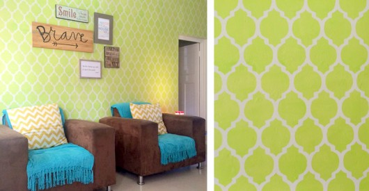 A DIY lime green stenciled accent wall using the Casablanca Allover Stencil. http://www.cuttingedgestencils.com/allover-stencils.html