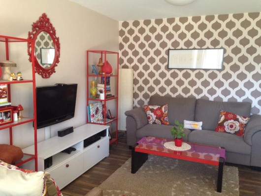 A DIY stenciled accent wall in an apartment using the Cascade Allover Stencil pattern. http://www.cuttingedgestencils.com/cascade-allover-stencil-pattern.html