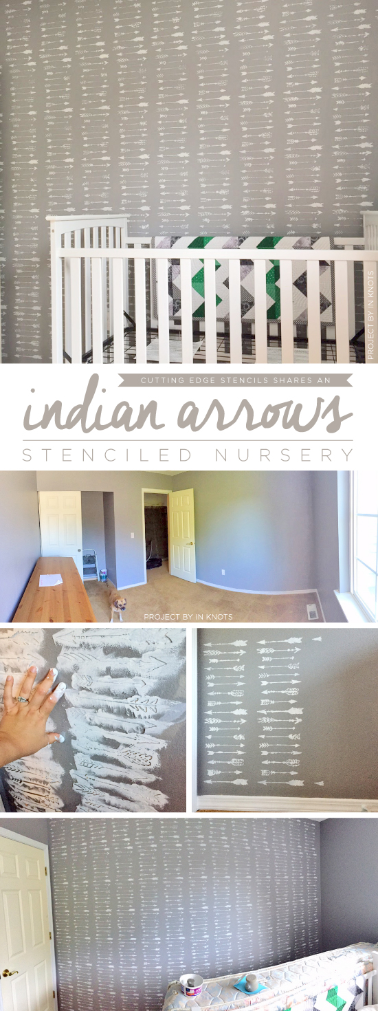 Cutting Edge Stencils shares a DIY stenciled accent wall in a gray and white nursery using the Indian Arrows Allover Stencil. http://www.cuttingedgestencils.com/indian-arrows-stencil-pattern-for-walls.html