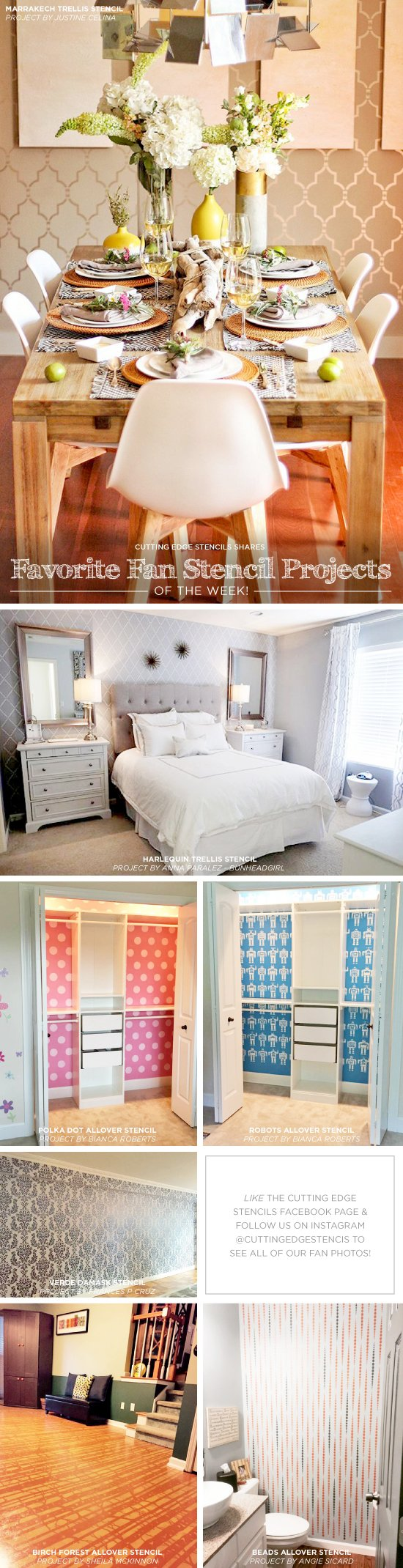 Cutting Edge Stencils shares DIY stenciled room ideas and accent wall projects. http://www.cuttingedgestencils.com/wall-stencils-stencil-designs.html