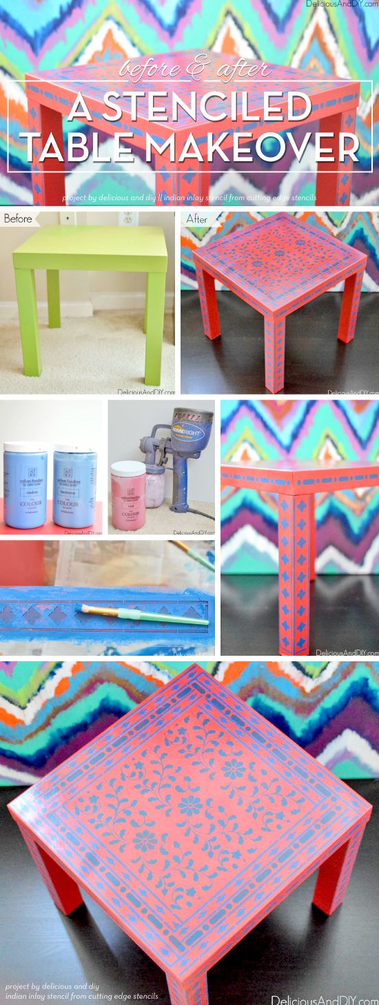 Cutting Edge Stencils shares a DIY stenciled table makeover using the Indian Inlay Stencil kit. http://www.cuttingedgestencils.com/indian-inlay-stencil-furniture.html